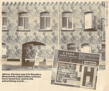 Fac 251 The New Factory; covered in Technique posters (from NME February 1989 [photo: Rebecca Boulton]