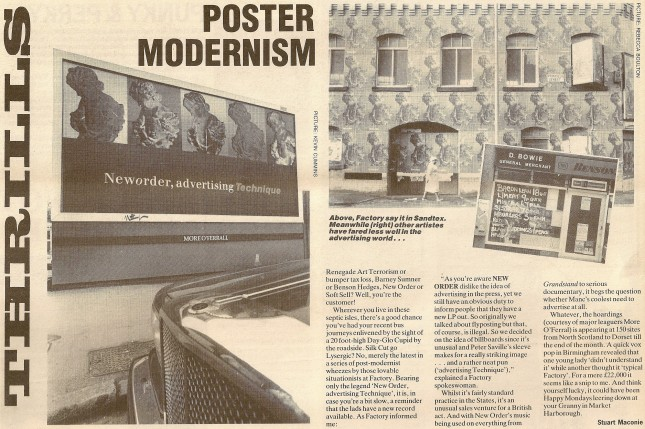 Poster Modernism - NME article by Stuart Maconie February 1989