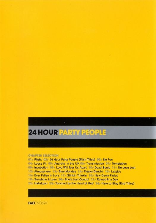 FACDVD 424 - 24 Hour Party People UK retail dvd back cover detail