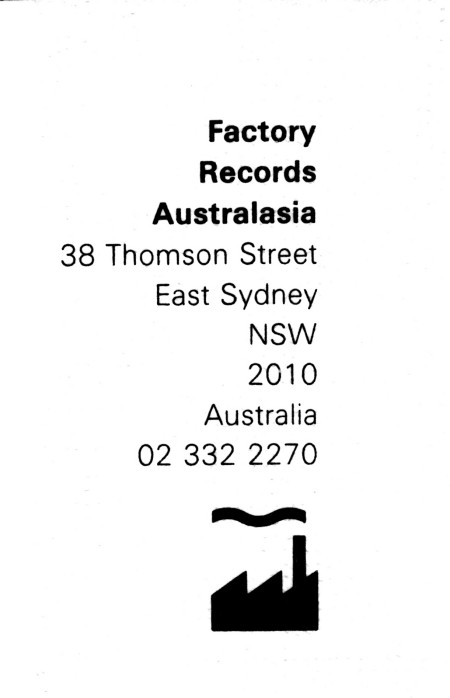 FACOZ Factory Records Australasia Stationery; envelope [detail]