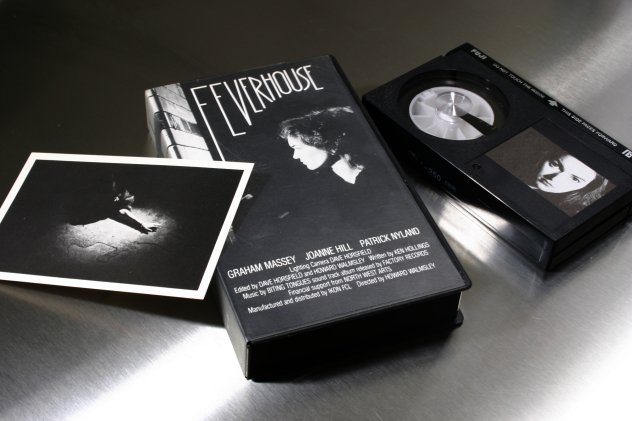 FACT 105 Feverhouse The Soundtrack; detail of video box, cassette and postcard