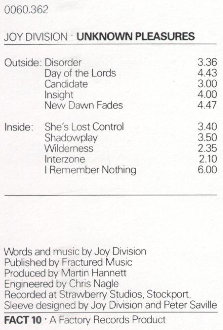 FACT 10 Unknown Pleasures credits