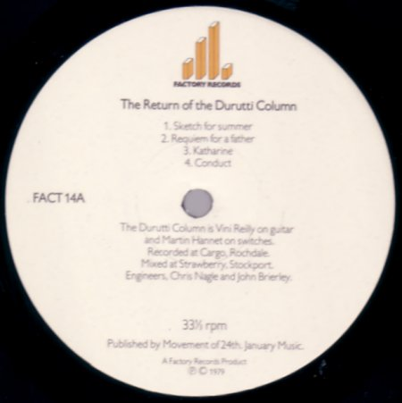 FACT 14 The Return Of The Durutti Column; A-side label detail