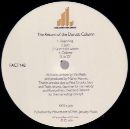 FACT 14 The Return Of The Durutti Column; B-side label detail
