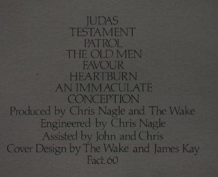 Fact 60 Harmony; back cover detail including production credits and catalogue number