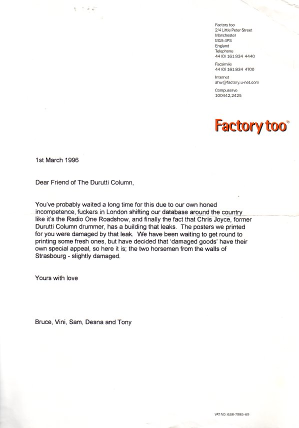 Factory Too letter sent out with Fac 3.11 The Return of the Durutti Column 1967 poster