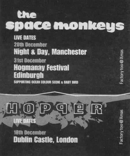 Factory Too @ Xmas - advert in NME 21-28 December 1996 for Christmas gigs by The Space Monkeys and Hopper