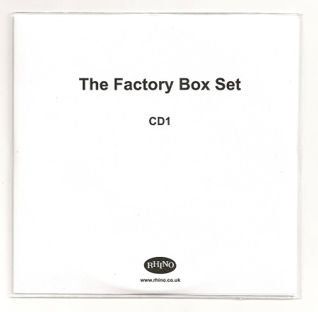Factory Records: Communications 1978-92 box set [Rhino]; promo disc one front cover detail