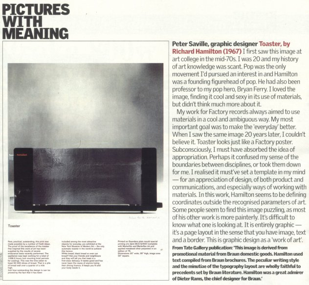 Peter Saville - Pictures With Meaning - The Guardian 4 September 2004