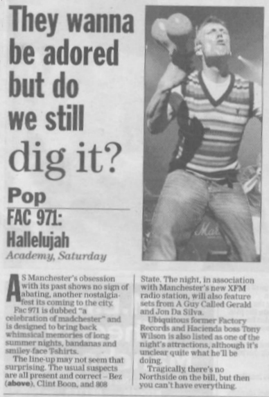 FAC 471 - A Celebration of Madchester, Manchester Academy 1, Saturday 13 May 2006; news story