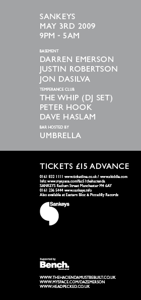 FAC 51 The Hacienda 27th Birthday Party Sankeys 3 May 2009; flyer front