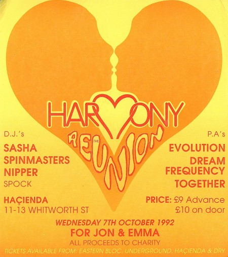 Harmony: The Reunion - Wednesday 7 October 1992; flyer detail
