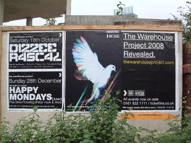 Happy Mondays Live at The Warehouse Project with Special Guests Mike Pickering, Peter Hook (New Order) and Jon Dasilva - Sunday 28 December 2008; street posters