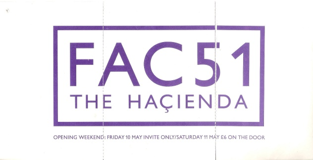 FAC 51 The Hacienda - Thursday, Friday and Saturday - reverse view of perforated flyer