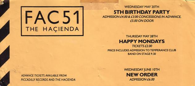 Flyer for May/June 1987 events at FAC 51 The Hacienda including 5th Birthday, Happy Mondays and New Order