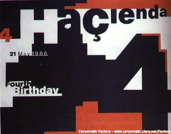 FAC 51 The Hacienda Fourth Birthday poster designed by 8vo