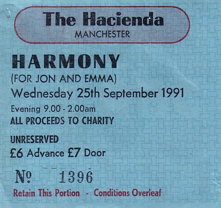 Fac 51 The Hacienda Harmony; front detail of ticket