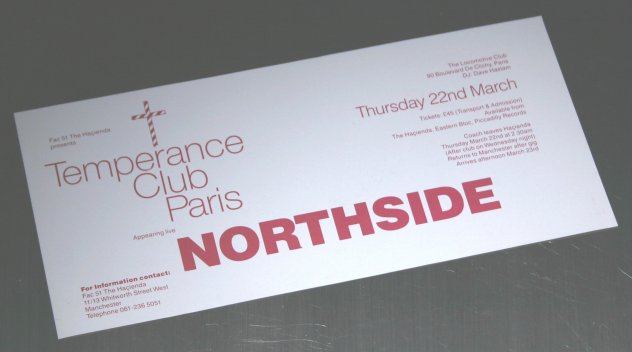 FAC 51 The Hacienda - Temperance Club Paris - Northside - Thursday 22nd March; detail of flyer