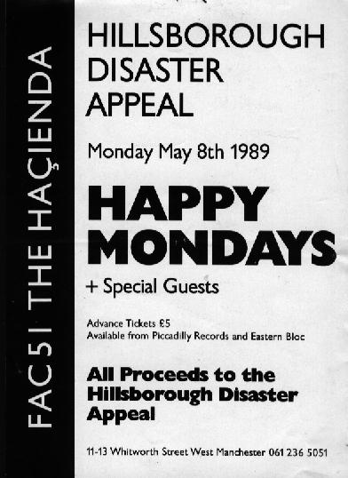 Flyer for Hillsborough benefit gig at The Hacienda