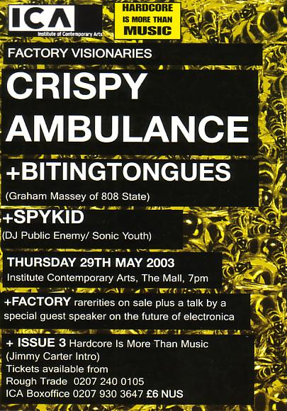 Hardcore is More Than Music presents Crispy Ambulance and Biting Tongues live at the ICA