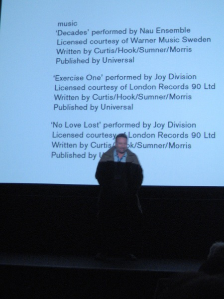 Joy Division film documentary; Hooky at the European Premiere, 7 November 2007, Sheffield