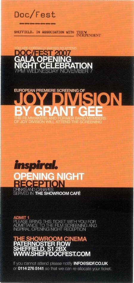 Joy Division film documentary; invitation to European Premiere, 7 November 2007, Sheffield
