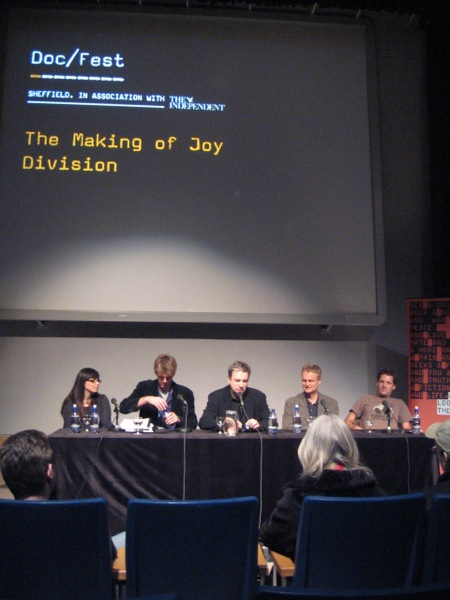 Joy Division film documentary; Making Of masterclass, 11 November 2007, Sheffield [l-r: Jacqui Edenbrow (producer), Grant Gee (director), Paul Morley, Tom Astor (producer), Jerry Chater (editor)]