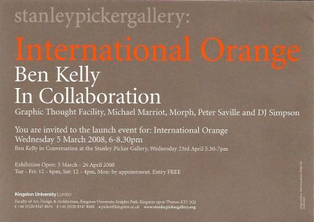International Orange Stanley Picker Gallery; flyer detail [1]