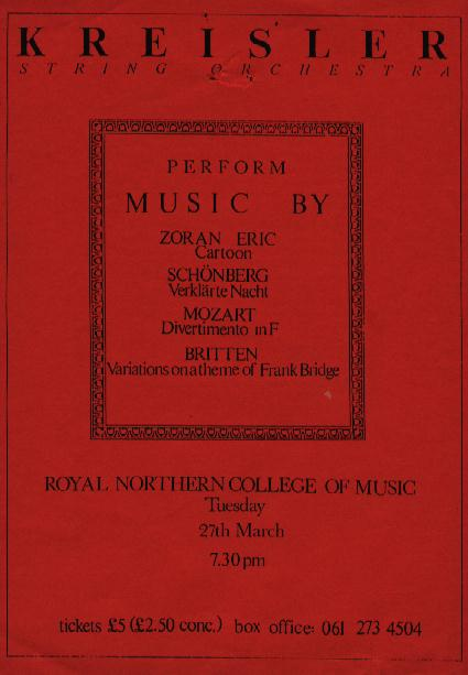 Flyer for Kreisler String Orchestra concert at the Royal Northern College of Music, Manchester, UK