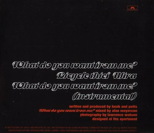 Monaco - What Do You Want From Me?; back cover detail
