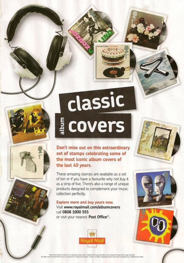 Classic Albums Covers Royal Mail Stamps including Power, Corruption & Lies by New Order; press advertising
