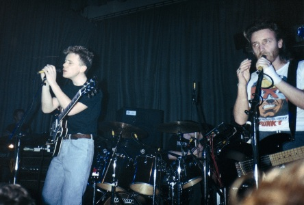 New Order live at Salford University - Bernard and Hooky; [photo credit: Tim Sinclair]