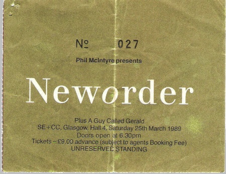 New Order live at Glasgow SE+CC, 25 March 1989; ticket