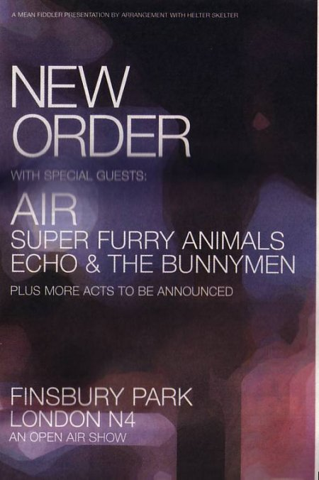 Advert for New Order at Finsbury Park, 8 June 2002
