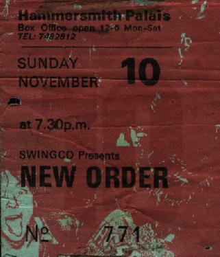 Ticket for New Order gig at the Hammersmith Palais, London; support was by A Certain Ratio