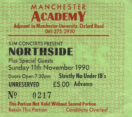 Northside Live at Manchester Academy 11 November 1990; detail of ticket