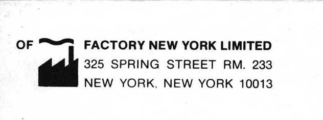 Of Factory New York mail order catalogue; detail of logo and mailing address