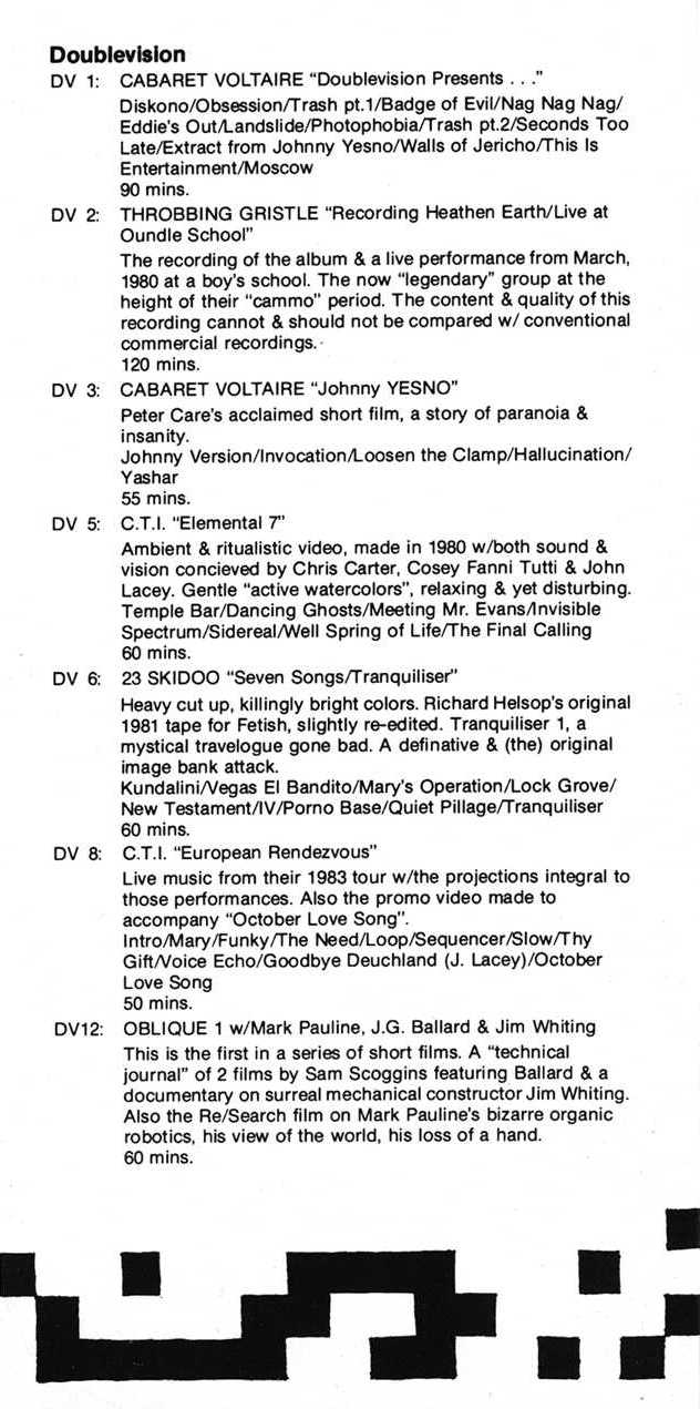 Of Factory New York mail order catalogue; detail of contents [4 of 6] including Doublevision releases for Cabaret Voltaire
