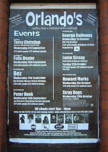 An Evening With Peter Hook / An Evening With Bez @ Orlando's; street poster