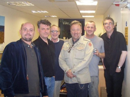 Peter Hook Section 25 Live - group photo taken at rehearsals on 6 October 2008 (L to R: Phil (Guitar Tech), Ian Butty, Larry Cassidy, Peter Hook, Vin Cassidy and Steve Stringer)