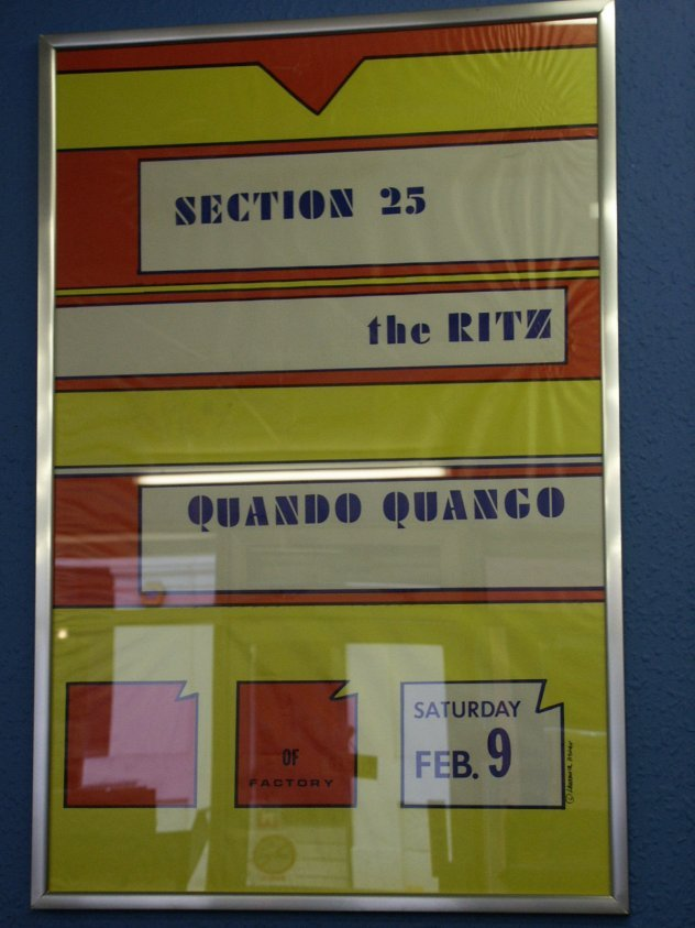 Poster for Section 25 and Quando Quango Live at The Ritz, New York 9 Feb 1985