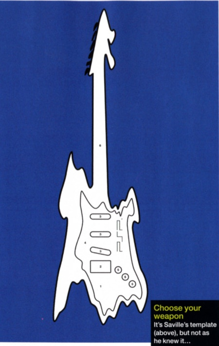 Peter Saville's guitar cut-out giveaway for the UK PSP launch; detail of guitar from Arena magazine August 2005