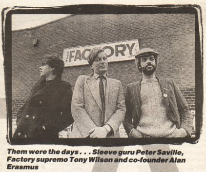 Peter Saville, Tony Wilson and Alan Erasmus standing outside The Factory; photo by Kevin Cummins