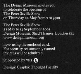 Invitation to the launch party for the Peter Saville Show on 22 May 2003; inside
