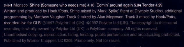Monaco - Shine (Someone Who Needs Me) promo cd single in card sleeve; back cover detail