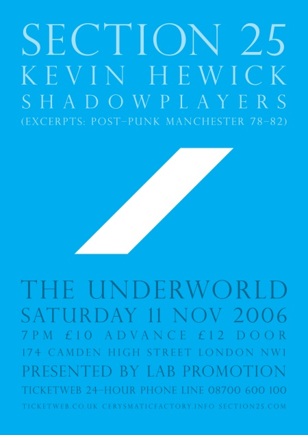 Section 25 - Live at The Underworld, Camden, Saturday 11 November 2006; poster