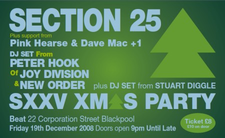 Section 25 - Live at Beat Club, Blackpool, Friday 19 December 2008; flyer