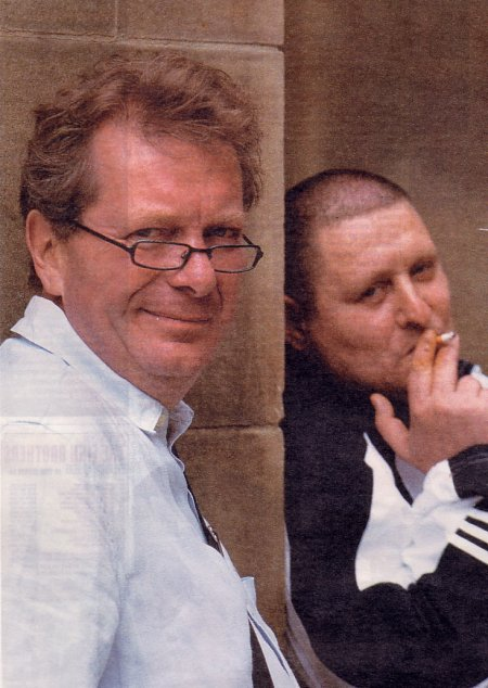Tony Wilson and Shaun Ryder photographed by Kevin Cummins for The Times, Eye supplement, 21 August 2004