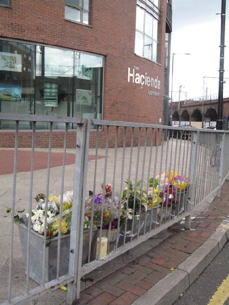 Flowers for Tony Wilson outside the Hacienda Apartments, Manchester