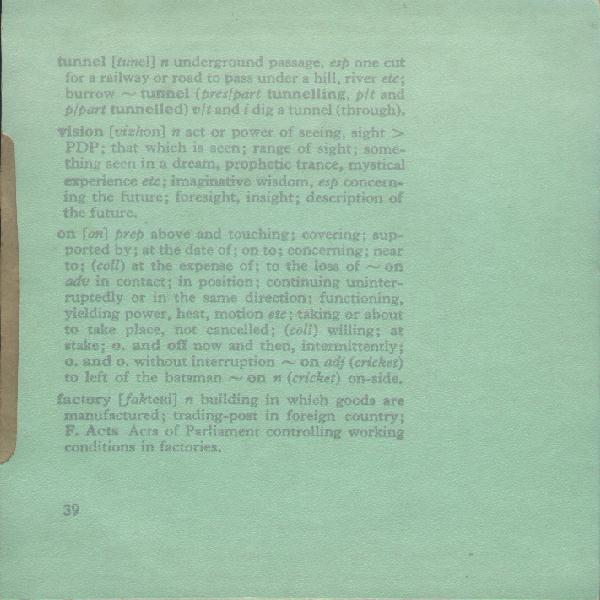 FAC 39 Watching The Hydroplanes, picture sleeve; back cover detail